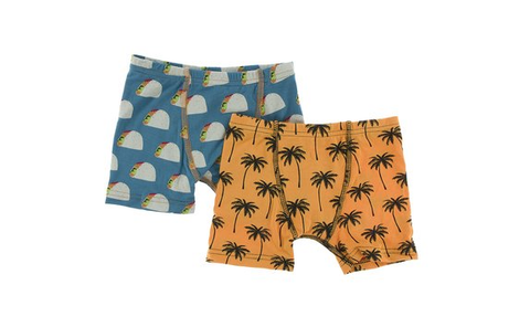 Kickee Pants Boxer Briefs Set (Seagrass Tacos and Apricot Palm Trees)
