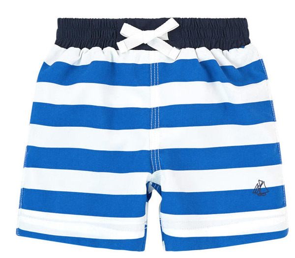 Petit Bateau Boy Blue Striped Swim Shorts Royal Blue/White