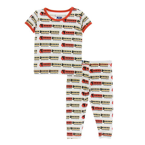Kickee Pants Print Short Sleeve Pajama Set Natural Indian Train