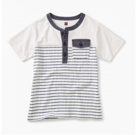 Tea Collection Striped Pocket Henley Paperwhite