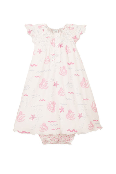 Feather Baby Henley Dress + Bloomer - Octopi - Pink on White