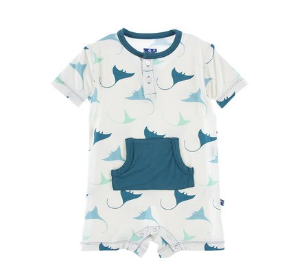 Kickee Pants Print Kangaroo Romper (Natural Manta Ray)