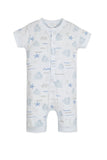 Feather Baby Henley Romper - Octopi on Baby Blue
