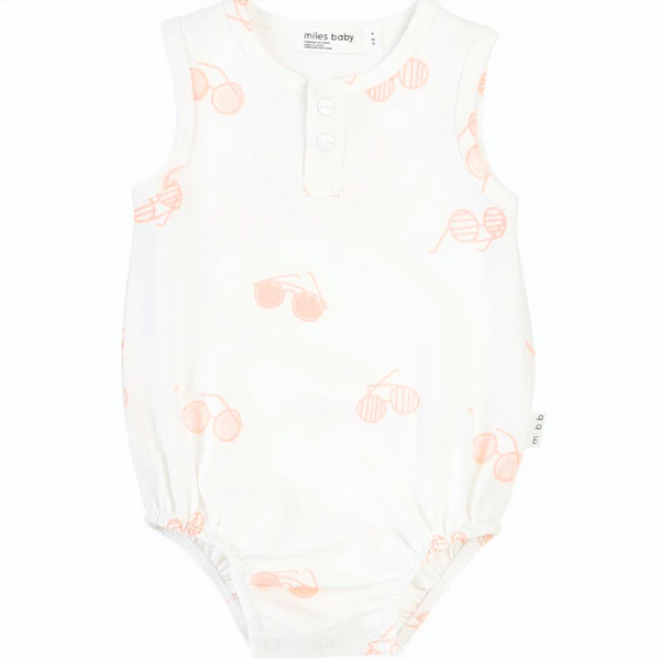Miles Baby Romper Knit Off White With Pink Sunglasses