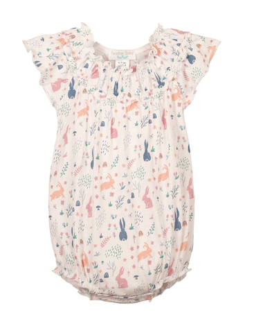 Feather Baby Ruched Bubble Rabbit Hole - Pink on White