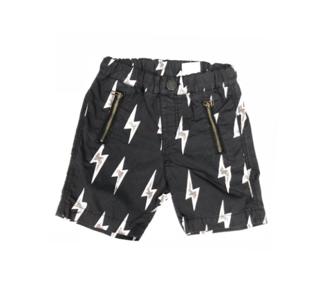 Bitz Kids Black with White Lightening Short