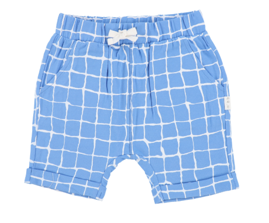 Miles Baby Shorts Knit Blue Pattern