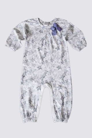 Feather Baby Bow Romper Charlotte Violet on White