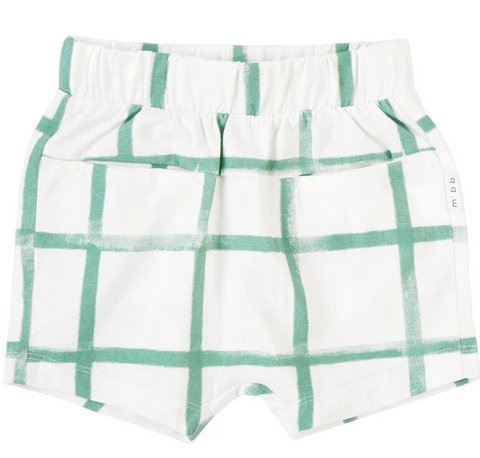 Miles Baby Farmers Market  Shorts Knit Off White with Green Check
