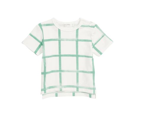Miles Baby  Farmers Market T-Shirt Knit Off White with Green Check