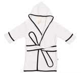 Kyte Bath Robe in Cloud with Midnight Trim