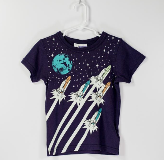 Bitz Kids T-Shirt  Navy with Space Shuttle