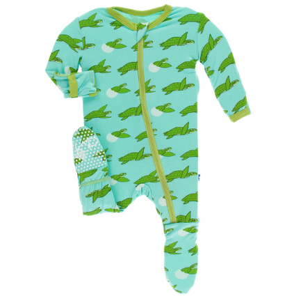 Kickee Pants Print Footie with Zipper (Glass Sea Turtles )