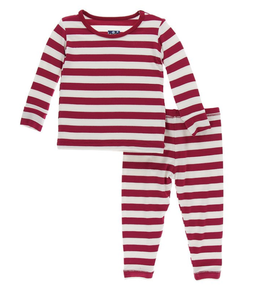 Kickee Pants Print Long Sleeve Pajama Set (Candy Cane Stripe)