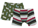Kickee Pants Boxer Briefs Set (Moss Puppies and Presents and Christmas Multi-Stripe)