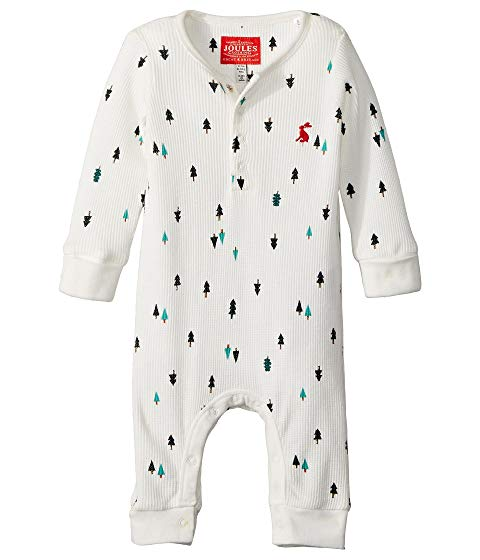 Joules Waffle Printed Babygrow Cream Tree