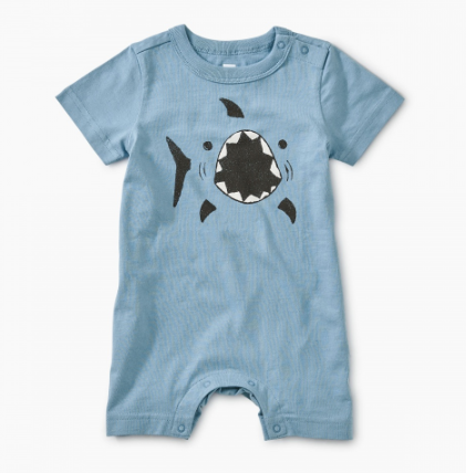 Tea Collection Shark Graphic Romper Blue Tide