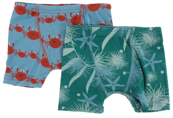 Kickee Pants Boxer Briefs Set - Blue Moon Crab Family and Ivy Sea Garden