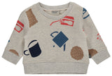 I&E Pullover Long Sleeve Snow Multi Print Tea and Cookies