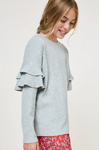 Hayden Ruffle Knit Sweater Top Heather Grey