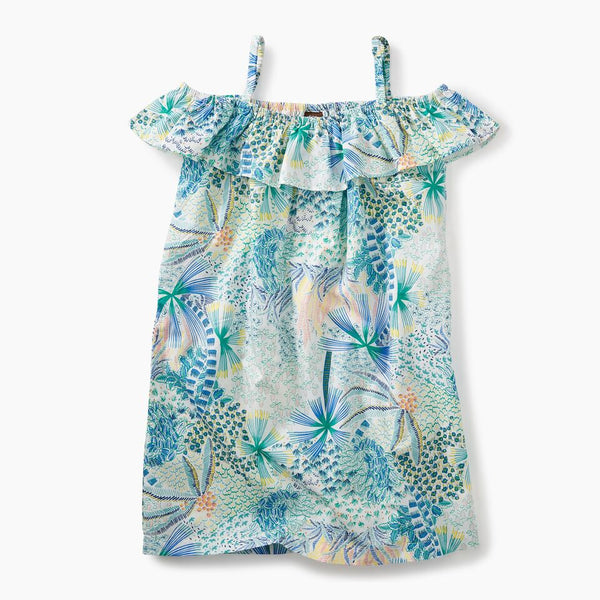 Tea Collection Ruffle Neck Dress Tropical Palms