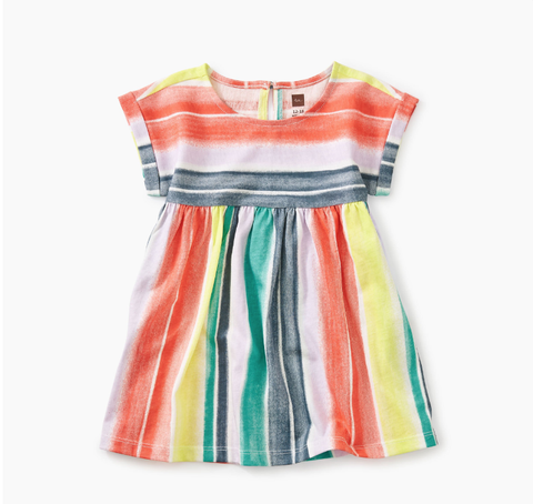 Tea Collection Printed Empire Baby Dress Watercolor Stripe