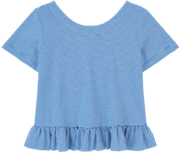 Petit Bateau Striped Peplum Top with Ruffle