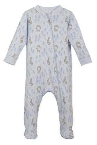 FB Zipper Footie - Foxy on Baby Blue