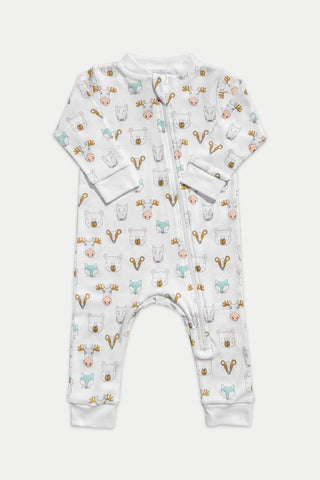 Feather Baby Zipper Romper - Field Animals - Blue on White