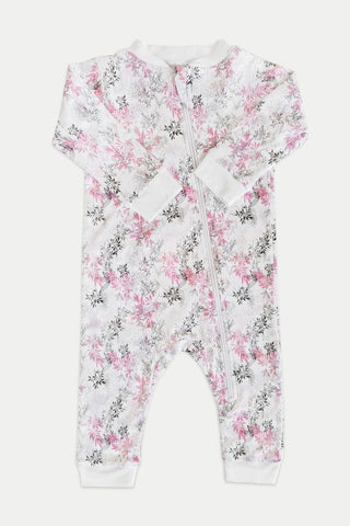 Feather Baby  Zipper Romper Charlotte Pink on White