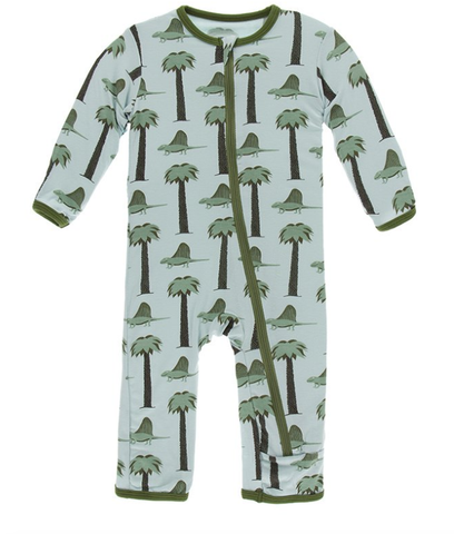 Kickee Pants Print Coverall with Zipper Dimetrodon