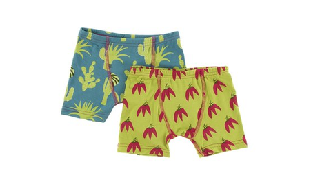 Kickee Pants Boxer Briefs Set (Seagrass Cactus and Meadow Chili Peppers)