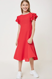 Hayden Red Dress with Ruffle Sleeve