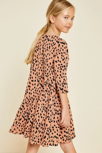 Hayden Asymmetrical Ruffle Dotted Swing Dress Salmon