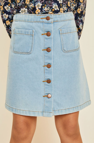 Hayden Denim Button Down Pocket Mini Skirt