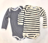 Petit Bateau Crewneck Striped Bodysuit  Set of 2 - Navy White