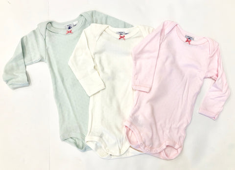 Petit Bateau Crewneck Girls Bodysuit  Set of 3 - Pink, White & Aqua
