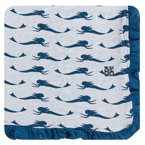 KP Print Ruffle Toddler Blanket Natural Mermaid