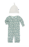 Kickee Pants Print Gown Converter and Knot Hat Set - Jade Sand Dollar