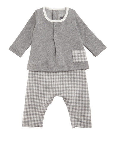 PB Baby Boy Check Pants Solid Top Coverall Grey White