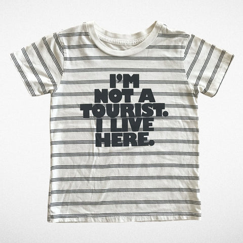 "Tiny Whales ""Not a Tourist""  S/S Tee Natural Stripe"