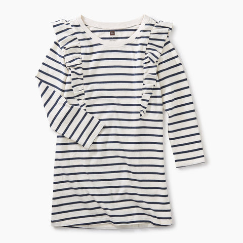 Tea Collection Striped Ruffle Shoulder Dress Chalk