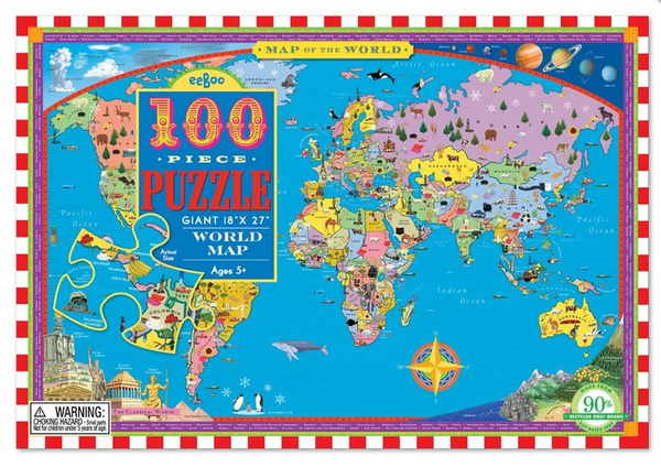 eeBoo World Map 100 pc Puzzle