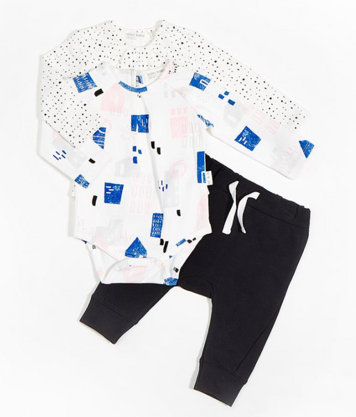Miles Baby 3 piece Shirts and Pant Knit NEIGHBORHOOD BODYSUIT SET polka dot blue pink