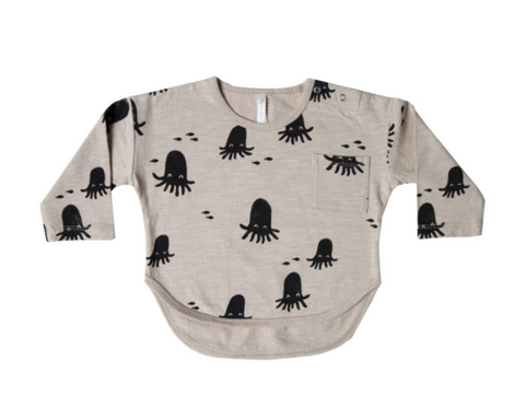 Rylee and Cru Octopus Banded Long Sleeve Tee Pebble