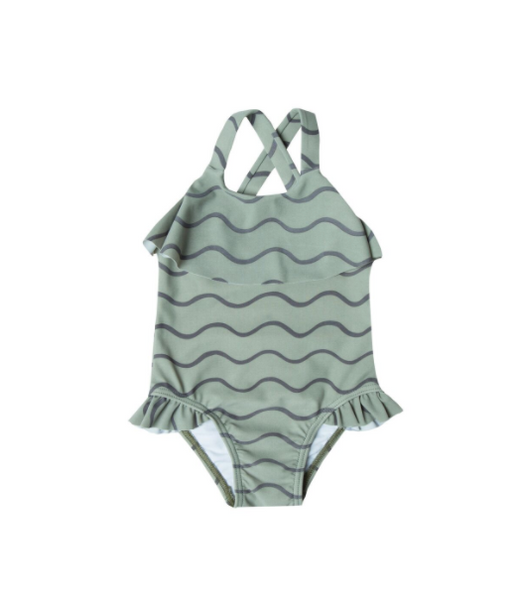 Rylee and Cru Rolling Waves Ruffle Onepiece Seafoam