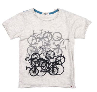 Appaman Graphic Short Sleeve Tee Cloud Heather Bike Jam