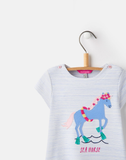 Joules Blue Stripe Dress with Horse