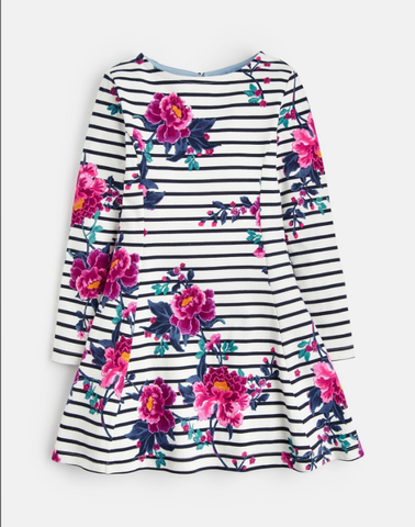 Joules Stripe  Floral Erin Jersey Skater Dress