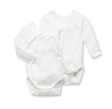 Petit Bateau 2 Pack Long Sleeve Crossover Bodysuit White
